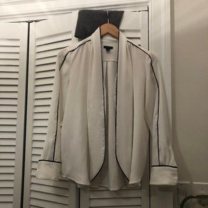 Ann Taylor Petite, white blouse with long tie